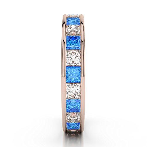 Or Rose 18carats 1CT G-H/VS sertie de diamants Coupe Princesse Topaze bleue et bague éternité Agdr-1134