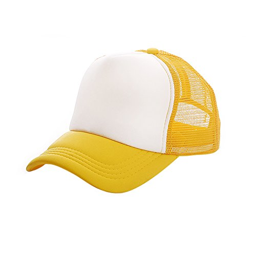 Opromo Two Tone Mesh Trucker Cap, Adjustable Snapback-Yellow/White
