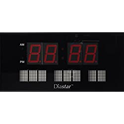 Diastar Large LED Clock with Date- Red