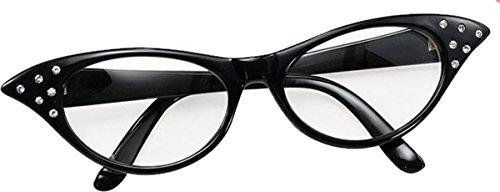 Bristol Novelties Ladies 50S Style Rock N Roll Dame Edna Specs Fancy Party Black (Dame Edna Costumes)