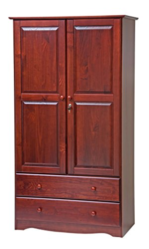 Palace Imports 5922 Smart Solid Wood Wardrobe/Armoire/Closet in Mahogany