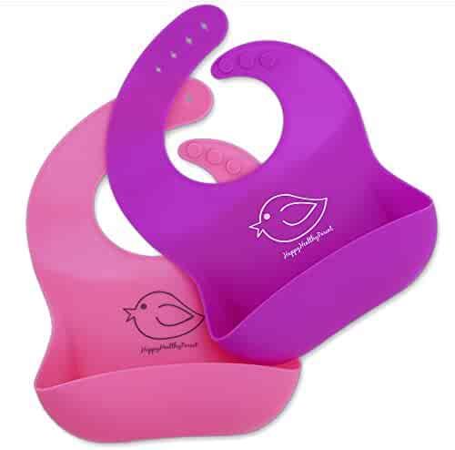 Waterproof Silicone Bib Easily Wipes Clean! Comfortable Soft Baby Bibs Keep Stains Off! Spend Less Time Cleaning after Meals with Babies or Toddlers! Set of 2 Colors (Pink / Purple)
