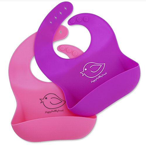 Waterproof Silicone Bib Easily Wipes Clean! Comfortable Soft Baby Bibs Keep Stains Off! Spend Less Time Cleaning After Meals with Babies or Toddlers! Set of 2 Colors (Pink/Purple)