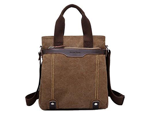 CTOOO-Vintage Bolso Casual De Negocios De Moda De Bolsos De Lona De Gran Capacidad Para Hombres marrón