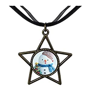 Chicforest Bronze Retro Style Snowman With Christmas Tree Five Pointed Star Pendant