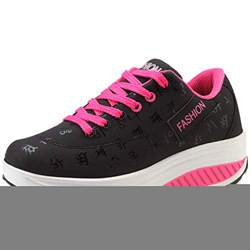 Orlancy Women's Fashion Leather Platform Lace-up Sneakers Walking Shoes Fitness Sports Shoes Black
