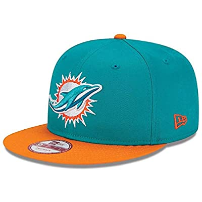 New Era 9Fifty Hat Miami Dolphins Baycik Aqua Blue/Orange Adjustable Cap (Medium/Large)