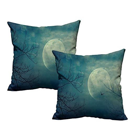 (warmfamily Horror House Creative Pillowcase Halloween with Full Moon in Sky and Dead Tree Branches Evil Haunted Forest Print Suitable for Hair and Skin Health W23 x L23)