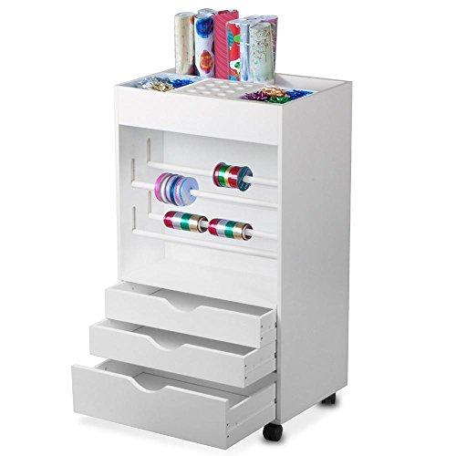 Yaheetech White Gift Wrapping Cart Craft Organizer Storage Cart (Large Image)