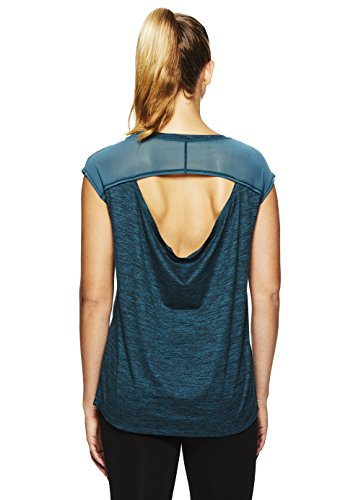 Gaiam Women's Open Back Yoga T Shirt - Relaxed Fit Short Sleeve Workout & Training Top - Atlantic Deep Heather - Athena, Small
