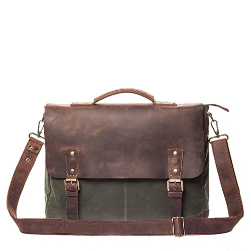 Vintage Handmade Waxed Canvas & Leather Messenger Bag - Mens Business Briefcase - Fits Laptops Up to 15 inch - Waterproof & Lightweight Everyday Satchel - Brown by Tram 21