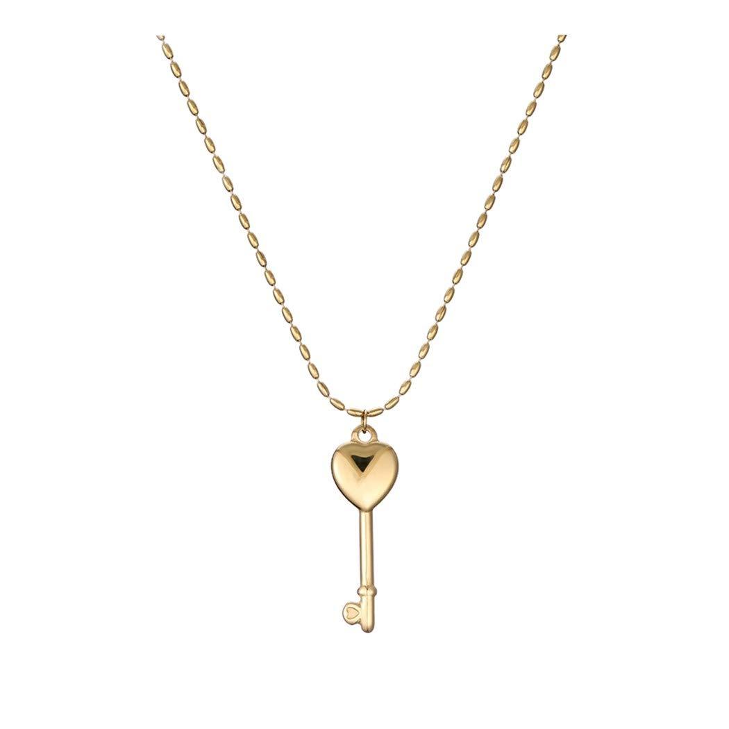 ZUXIANWANGレディース鎖骨チェーン18Kゴールデンハートキーネックレスファッションネックレスネックレスシンプル   B07L74CL16