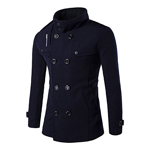 Zulmaliu Pea Coat for Men, Men's Winter Thicken Warm Stand Collar Wool Classic Double Breasted Overcoat (Navy, M)