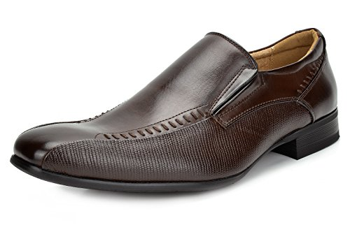 Bruno MARC GORDON-02 Men's Classic Modern Oxfords Square Toe Alligator Trim Stretch Insert Slip On Lined Dress Shoes DARK BROWN SIZE 13