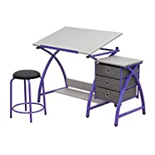 Studio Designs Comet Center with Stool in Purple/Spatter Gray