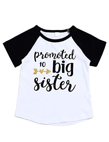 Toddler Little Kid Girl Skirt Polka Dot Tutu Tulle Dress+Big Sister T-Shirt+Bowknot Headband Summer Outfits Clothes Set (B-Black, 2-3 Years) ()