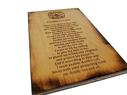 (Firefighter's Prayer - 5.5 x 8.5 Inch Sign with Scorched Edges )