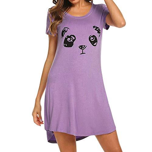 Mikilon Women Summer Short Sleeve Casual T Shirt Dresses Round Neck Plain Mini Tank Dress Purple]()
