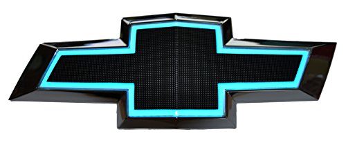 Illuminated Light Up LED Front Grille Bowtie Textured Emblem (Black, Blue) Fits 2010-15 Chevy Camaro