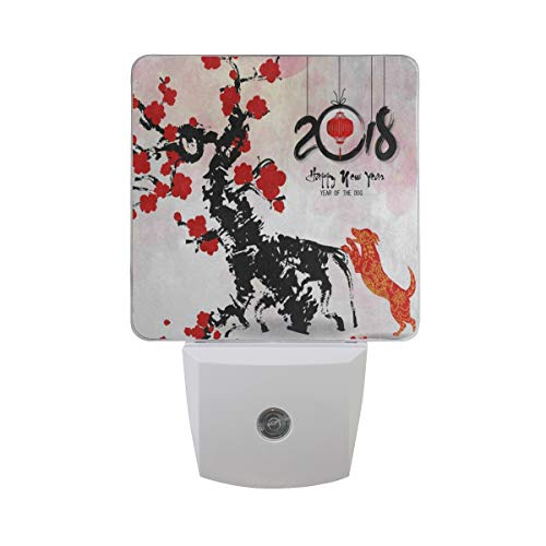 LED Night Light with Smart Dusk to Dawn Sensor,Happy New Year 2018 Chinese Cherry Blossom Plug Wall Lamp Great for Baby Nursing Bedroom Bathroom Hallway Stairways Or Any Dark Room (Blossom Toy Stroller)