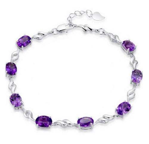 preeyanan 925 Silver Amethyst Chain Bracelet Women's Wedding Jewelry Valentine's Gift