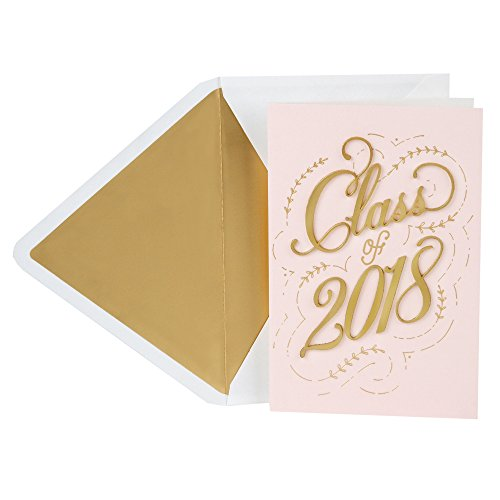 Hallmark Signature Graduation Greeting Card for Female (Pink Gold Class of 2018)