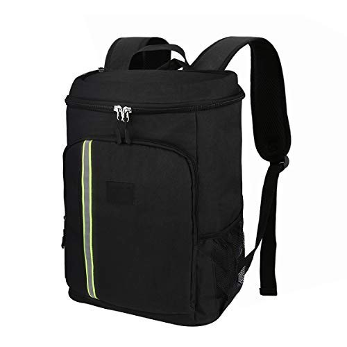 Segaty Insulated Cooler Backpack, Veesoo 32.8L Soft Waterproof Leak-Proof Lunch Cooler Bag Backpack for Picnic Camping Hiking Beach Park, Black [並行輸入品] B07R4WH22C