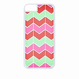 Lined Chevron Pattern (Pink, Coral, Green)- Case for the Apple Iphone 5C-Hard White Plastic Outer Shell with Inner Soft Black Rubber Lining