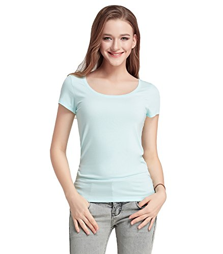 (Liang Rou Women's Mini-Ribbed Stretch Scoop Neck T-Shirt Light Blue S)
