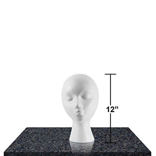 Styrofoam Mannequin Heads (Styrofoam Female Head Mannequins, Style, Model & Display Women's Wigs, Hats & Hairpieces - Small, 12