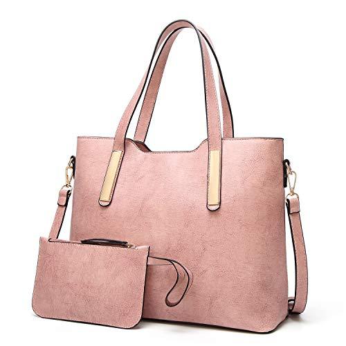 cuoio Bag Tote modo delle Bag dell'unità 2pcs della Cachi elaborazione Set donne Rosa di Shoulder del borsa q6wO8wfEn