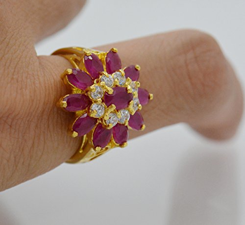 22k Yellow Gold Plated Women AAA Syn Siamese Ruby Cz Ring Size (Siamese Ruby)