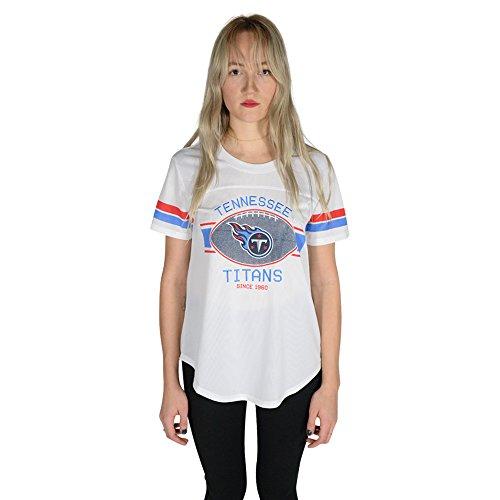 Icer Brands NFL Tennessee Titans Women's Jersey T-Shirt Mesh Varsity Stripe Tee Shirt, Small, (Tennessee Football T-shirt)