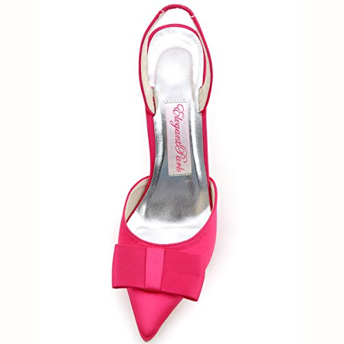 ElegantPark HC1404 Zapatos de tacón Talón abierto Arcos raso zapatos del partido mujer talla Rosa Caliente