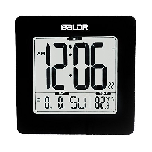 BALDR Atomic Digital Alarm Clock, Displays Time, Date, and Indoor Temperature, Blue Backlight, Black Frame (Digital Clock Small Plug)