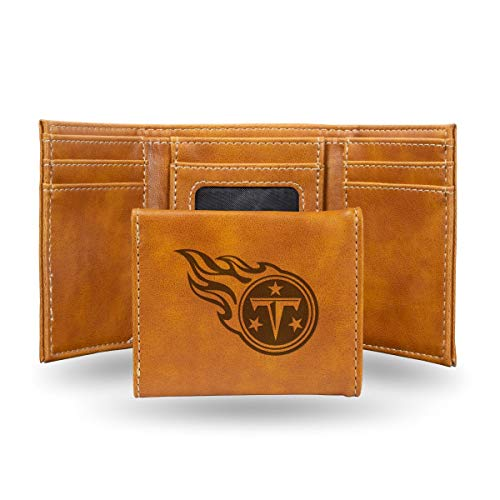 Rico Industries NFL Tennessee Titans Laser Engraved Tri-Fold Wallet, Brown