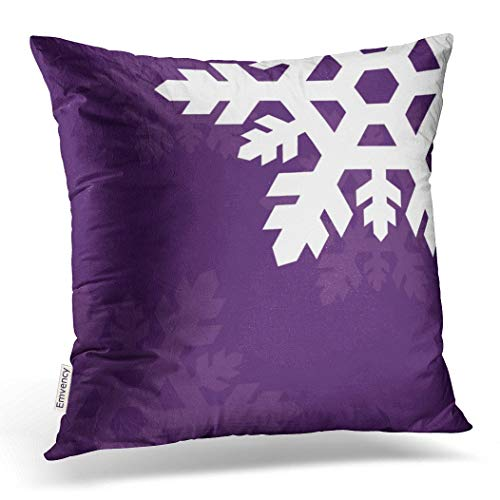 Emvency Pillowcases Xmas Happy New Year Bright White Snowflakes Against Purple Decorative Cushion Cover Case Throw Pillow Cover Case Protectors Square 20x20 Inches One Side Sofa Couch