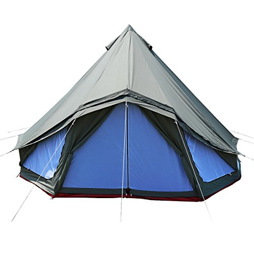 PlayDo Waterproof 5M/16.4ft Cotton Canvas Bell Tent Family Yurts Tent for Outdoor Camping