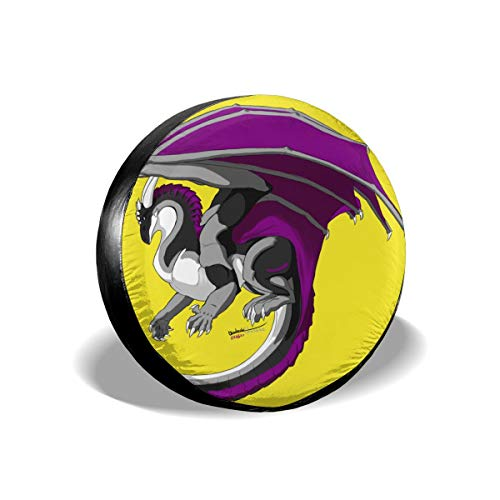 Asexual Ace Pride Dragon Fly Spare Tire Cover Rear Car Decorations Holiday Ornament Wheel Accessories Decor Protector 14 15 16 17 Inch for Jeep Trailers RV SUV Trucks Offroad Parts ()