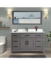 Vanity Art 60 Inch Bathroom Vanity Set with Super White Phoenix Stone with Free Mirror VA1060