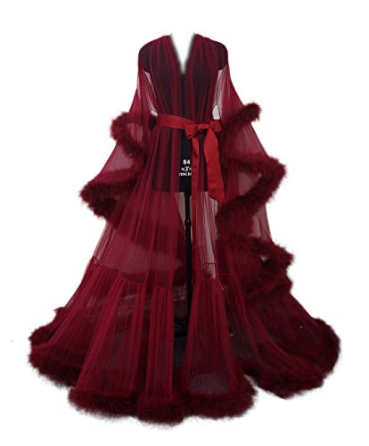 Sexy Feather Bridal Robe Tulle Illusion Long Wedding Scarf New Custom Made ... (burgundy red)