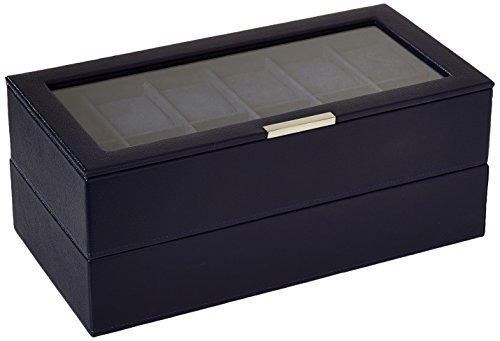 (WOLF 319717 Stackable Set of 2 - 12 Piece Watch Trays, Navy )