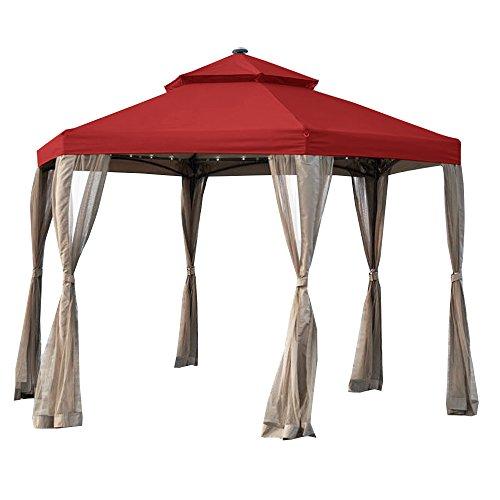 Garden Winds Replacement Canopy for The Hampton Bay Solar Hexagon Gazebo - Riplock 350 - Cinnabar (Canopy Replacement Hexagon)