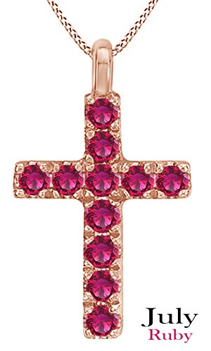 AFFY Simulated Pink Ruby Cross Pendant Necklace In 14K Solid Rose Gold Pink Rose Gold Ruby