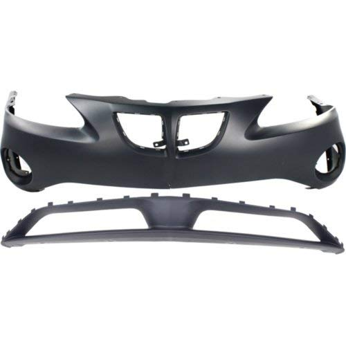 Gt2 Front Bumper - Bumper Cover Set of 2 Compatible with PONTIAC Grand Prix 2004-2008 Front Upper and Lower Primed Base/Gt/Gt1/Gt2/Gtp Models