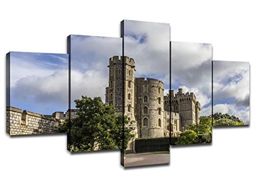 Chicicio Windsor Castle Canvas Art Pictures for Dining Room Artwork Painting Framed Wall Decor London Suburbs Landscape Poster Home Living Room Decoration Gallery-Wrapped Ready to Hang(60''Wx32''H)
