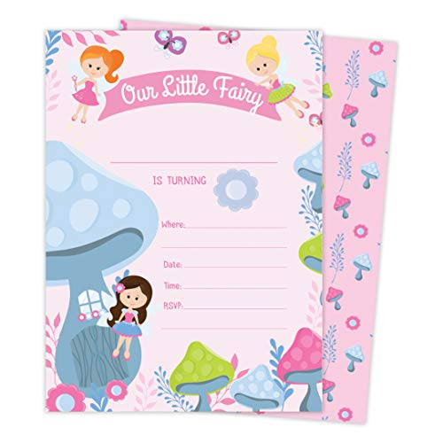 Invitations Fairy - Fairy 2 Happy Birthday Invitations Invite Cards (25 Count) With Envelopes & Seal Stickers Vinyl Girls Kids Party