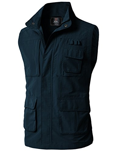 H2H Men's Classic Outwear Down Vest Lightweight Stand Collar Quilted Down Coat Navy US XL/Asia 2XL (KMOV0152) (Quilted Zip Full Coat)