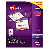 Avery 74459 Neck Hang Badge Holder w/Laser/Inkjet Insert, Top Load, 3h x 4w, White (Box of 100)