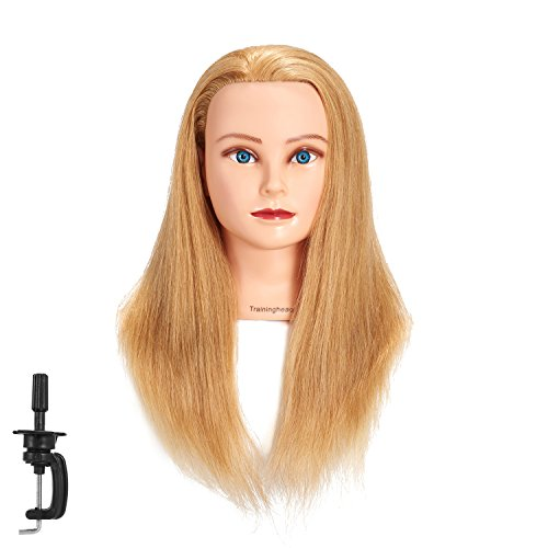 Traininghead 18-20 Female Mannequin Head 100% Human Hair Hairdresser Training Practice Head Cosmetology Manikin Head Doll Head (16)